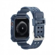 Curea cu husa 2 in 1 sport antisoc din silicon pentru Apple Watch 4 Series 44mm albastru