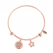 CO88 Armband 'Bloemen' staal/rosékleurig, all-size 8CB-10005