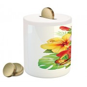 Hawaiian Coin Box Bank by Ambesonne, Bouquet of Colorful Hibiscus Flowers with a Butterfly Blooming Plumeria Petals, Printed Ceramic Coin Bank Money Box for Cash Saving, Multicolor