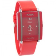 Kawa Red Color With Rectangular Crystal Studded Dial Watch For Women by 7 Star