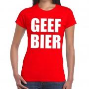 Bellatio Decorations Geef Bier fun t-shirt rood voor dames L - Feestshirts