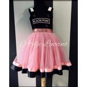 Black and pink haljina