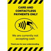Nisbets Currently Not Accepting Cash Sign A4 Self-Adhesive
