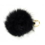 Černá kožešinová bambule z lišky - přívěsek na kabelku