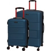 IT Luggage Expressway Polycarbonate Hardsided Suitcase Set | Large & Cabin Lightweight Travel Bags | 8 Wheel Trolley |16-2337-08| Set of 2 Expandable Check-in Luggage - 31 inch(Blue)