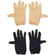 Tahiro BlackNBeige Cotton Driving Gloves - Pack Of 2