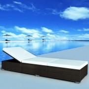 vidaXL Leżak z poduszką, polirattan, brązowy