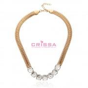 Colier fashion auriu cu cristale