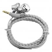 Urizons Bedrade headsets Koptelefoon voor mp3-speler Iphone Samsung LG Zilver Stof Gevlochten Armband oortelefoon oordopjes Met Microfoon