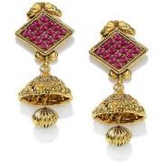 Zaveri Pearls jhumka earrings traditional in antique gold look - ZPFK5035