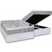 Conjunto Box Baú - Colchão Castor de Molas Pocket Super luxo Látex SLX + Cama Box Baú Nobuck Cinza - Conjunto Box King Size - 193 x 203