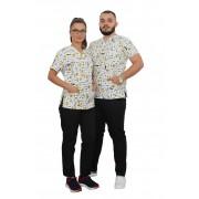 Costum medical Smile, cu bluza cu imprimeu si pantaloni negri cu elastic