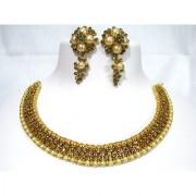 Golden Double Stone Grapes Necklace Set