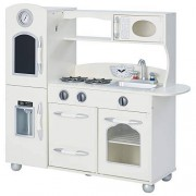 Teamson Kids Retro Wooden Play Kitchen with Refrigerator, Freezer, Oven and Dishwasher White (1 Pieces)