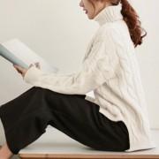 Suéter Para Mujer Con El Cuello Alto De Estilo Holgado - Blanco