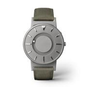 Ceas de mână tactil unisex EONE Bradley cu curea oliv de piele acoperită cu textil - DISPONIBIL LA COMANDĂ
