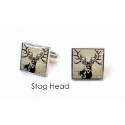 Tyler & Tyler Stencilart White Bricks Cufflinks Stag Head