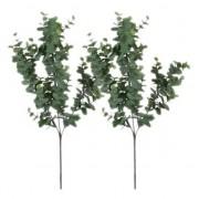 Shoppartners 2x Grijs/groene Eucalyptus kunsttakken kunstplant 65 cm
