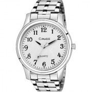 Crude Analog Stainless Steel Strap White Color Stylish Dial Watch For Men's Boy's