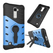 For LG K10 Shock-Resistant 360 Degree Spin Tough Armor TPU+PC Combination Case(Blue)