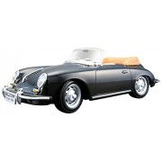 Bburago 1:24 Porsche 356B Cabrio 1961 Style Miniature Vehicle, Black
