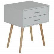 HOMCOM Nordic Bedside Table Two Drawer Side Cabinet Modern White W/ 2 Drawers