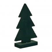 Xenos Houten kerstboom met velvet - groen - 16,5 cm