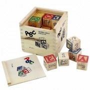 Skywalk ABC 123 Wooden Blocks Letters Numbers with Storage Case (27 Pieces)