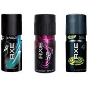 AXE New Deodorantsn axe apollo+provo+pulse Body Spray For Men - Pack Of 3 Pcs