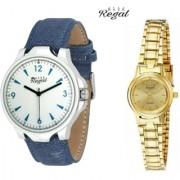 Mark Regal Denim Strap Men's+Golden Metel Women's Watches Couple Combo