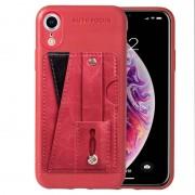 Apple Litchi textuur volledige dekking schokbestendig TPU Case voor iPhone XR met kaartsleuven & houder (rood)