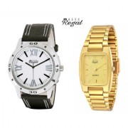 Mark Regal Black Leather Strap+Golden Metel Men's Analog Watches Combo Of 2