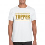 Bellatio Decorations Topper t-shirt wit met gouden glitters heren