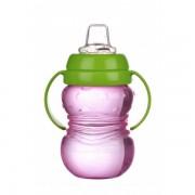 Cana anticurgere Minut Baby 6+ cu manere si cioc silicon 275 ml Roz