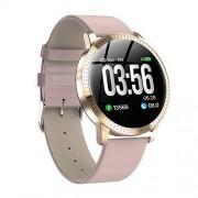 Yooha Reloj inteligente, CF18, pulsera deportiva impermeable con rastreador de actividad, monitor de frecuencia cardíaca, monitores de presión arterial, podómetros, visualización grande, carga USB (rosa)