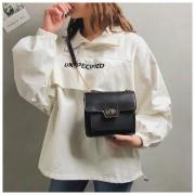 Casual PU schoudertas beugel vierkante zak dames handtas Messenger Bag (zwart)