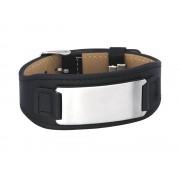 Armband Inori Steel & Leather Black – utan gravyr