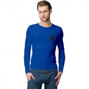 Aemrican-Elm Men's Royal Blue Slim Fit Full Sleeves Printed T-shirt/Round Neck Full Sleeve Tshirt