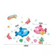TipTop Wall Sticker Vivid Colorized Tropisk fisk mönster Löstagbar