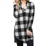 Camisa Mujer De Patrón De Cuadro Con V Cuello - Negro