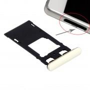 iPartsAcheter pour Sony Xperia X (Dual SIM Version) Plateau de carte SIM + Micro SD / Carte SIM Bac + Emplacement de carte Plug Dust Plug (Lime Gold)