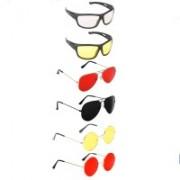 Elligator Aviator, Round, Sports Sunglasses(Clear, Yellow, Red, Black, Yellow)