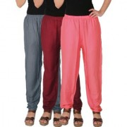 Culture the Dignity Women's Rayon Solid Casual Pants Office Trousers With Side Pockets Combo of 3 - Grey - Maroon - Baby Pink - C_RPT_G1MP2 - Pack of 3 - Free Size