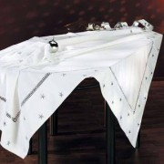 Weihnachts-Tischwäsche, Weiss/Silber - Tischdecke, 170 x 170 cm