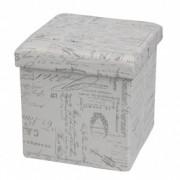Taburet cu spatiu de depozitare Moly Note Grey, l38xA38xH38 cm