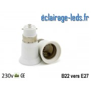 Adaptateur ampoule LED B22 vers ampoule LED E27 ref ad-01
