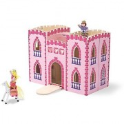 Melissa & Doug Fold and Go Wooden Princess Castle With 2 Royal Play Figures 2 Horses and 4 Pieces of Furniture