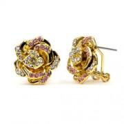 Rose Swarovski kristályos fülbevaló - Arany és pink színű