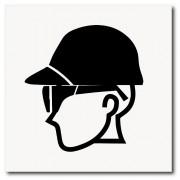 Placa use óculos e capacete de EPI 20x20 cm em ps 2mm