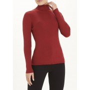 Papaya Ribbed Roll Neck Jumper in Size 14, Red